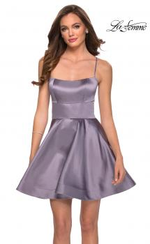 Picture of: Satin Fit and Flare Short Dress with Lace Up Open Back in Lavender Gray, Style: 29342, Main Picture
