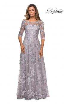 Picture of: Cap Sleeve Long Evening Gown with Lace Detailing in Lavender Gray, Style: 27854, Main Picture