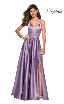 Picture of: Long Satin Formal Gown with Leg Slit and Strappy Back, Style: 26994, Main Picture