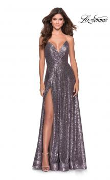 Picture of: Sequin A-line Prom Dress with Slit and Pockets in Lavender Gray, Style: 28276, Main Picture