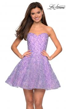 Picture of: Short Prom Dress with Sequins and A-Line Skirt in Lavender, Style: 27517, Main Picture