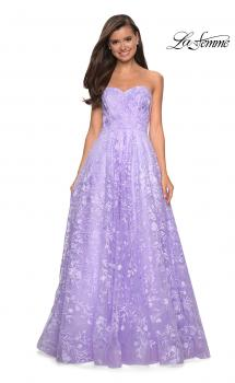 Picture of: Strapless A-Line Gown with Floral Embroidery in Lavender, Style: 27746, Main Picture