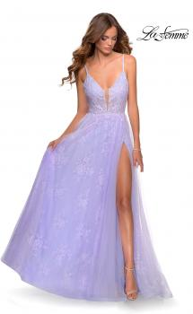 Picture of: Floral Lace A-line Prom Gown with Tulle Overlay in Lavender, Style: 28387, Main Picture