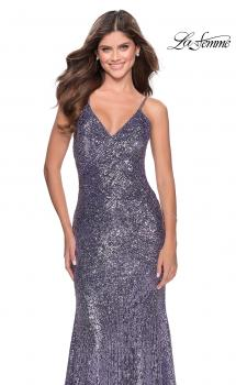 Picture of: Sequin Prom Gown With Drop Waist and V-Neckline in Lavender, Style: 28713, Main Picture
