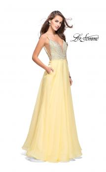Picture of: A-line Chiffon Prom Gown with Pearl Beaded Bodice in Lemon, Style: 26278, Main Picture