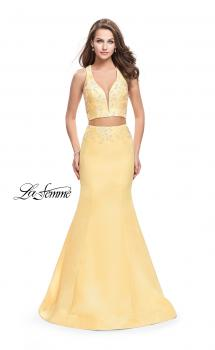 Picture of: Mikado Two Piece Mermaid Gown with Beaded Lace Top in Lemon, Style: 26311, Main Picture