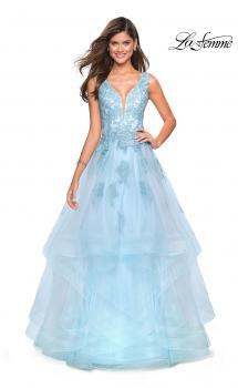Picture of: Layered Tulle Long Prom Gown with Lace Appliques in Light Blue, Style: 27256, Main Picture