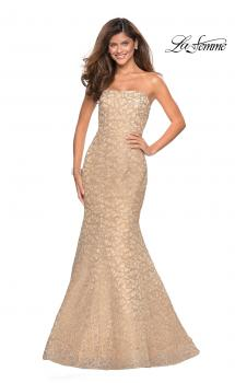 Picture of: Long Mermaid Metallic Lace Strapless Prom Dress, Style: 27267, Main Picture