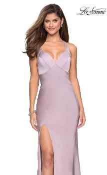 Picture of: Classic Form Fitting Jersey Floor Length Prom Dress in Light Mauve, Style: 27581, Main Picture