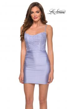 Picture of: Short Pastel Dress with Rhinestone Floral Lace Bodice in Light Periwinkle, Style: 29400, Main Picture