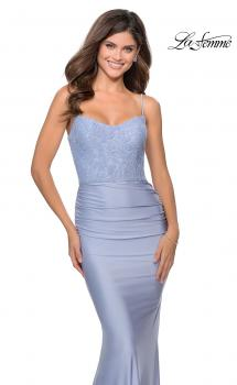 Picture of: Jersey Prom Dress with Lace Bodice and Rhinestones in Light Periwinkle, Style: 28558, Main Picture