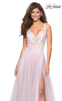 Picture of: Floor Length Tulle Gown with Plunging Lace Bodice, Style: 27621, Main Picture
