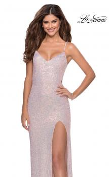 Picture of: Long Sequin Gown in Pastel Colors in Light Pink, Style: 28441, Main Picture