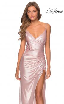 Picture of: Metallic Prom Dress with Ruching and Lace Up Back in Light Pink, Style: 28449, Main Picture