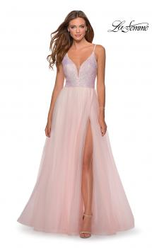 Picture of: Tulle and Sequin A Line Long Dress with Slit in Light Pink, Style: 28464, Main Picture