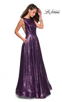 Picture of: Fully sequin A Line Gown with Illusion Sides in Light Purple, Style: 27061, Main Picture