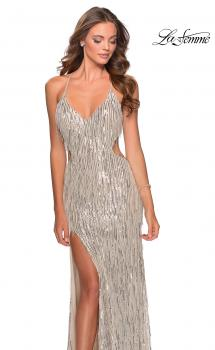 Picture of: Long Fringe Sequin Prom Dress with Cut Outs in Light Silver, Style: 28609, Main Picture