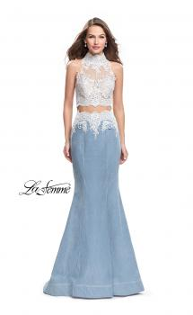 Picture of: Two Piece Long Prom Dress with Beads and Lace in Light Wash, Style: 25805, Main Picture