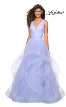 Picture of: Long Tulle Evening Gown with Plunging Neckline in Lilac Mist, Style: 27628, Main Picture