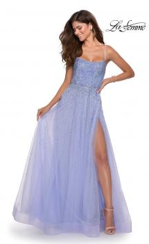 Picture of: A-line Tulle Dress with Beaded Bodice and Pockets in Lilac Mist, Style: 28583, Main Picture