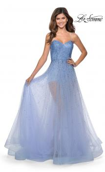 Picture of: Strapless Beaded Net Prom Dress with Sheer Bodice in Lilac Mist, Style: 28902, Main Picture