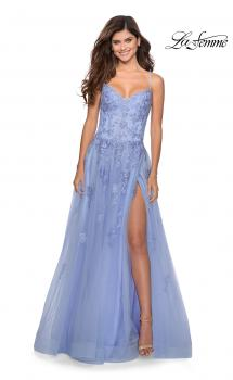 Picture of: Floral Lace Tulle A-line Gown with Side Leg Slit in Lilac Mist, Style: 28952, Main Picture