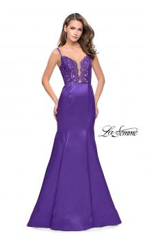 Picture of: Mikado Prom Dress with Lace Beaded Bodice and Low Back in Majestic Purple, Style: 25751, Main Picture