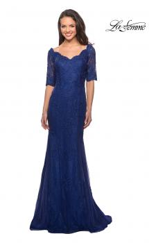 Picture of: Floor Length Lace Dress with Rhinestone Accents in Marine Blue, Style: 26943, Main Picture