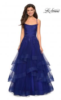 Picture of: Layered Tulle Dress with Lace Detail and Strappy Back in Marine Blue, Style: 27694, Main Picture