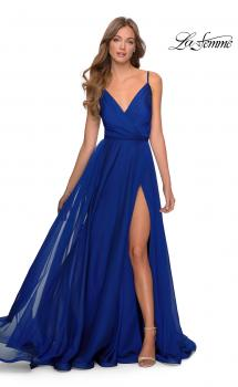 Picture of: Chiffon Prom Dress with Pleated Bodice and Pockets in Marine Blue, Style: 28611, Main Picture
