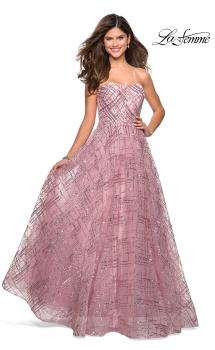 Picture of: Strapless A Line sequin Prom Gown with Pockets in Mauve, Style: 27237, Main Picture