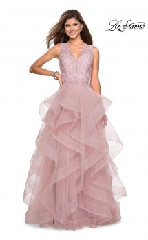 Picture of: Long Layered Tulle Dress with Lace Embellished Bodice in Mauve, Style: 27570, Main Picture