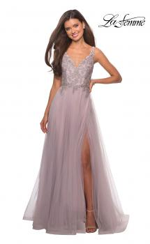Picture of: A Line Long Prom Dress with High Slit and Lace in Mauve, Style: 27676, Main Picture