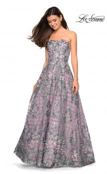 Picture of: Floral and Sequin A-Line Strapless Prom Dress in Mauve, Style: 27683, Main Picture