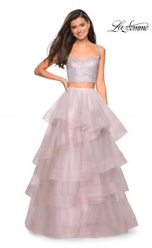 Picture of: Layered Tulle Two Piece Gown with Rhinestone Top in Mauve, Style: 27716, Main Picture