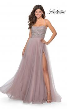 Picture of: Long Tulle Prom Dress with Beaded Bodice in Mauve, Style: 28535, Main Picture