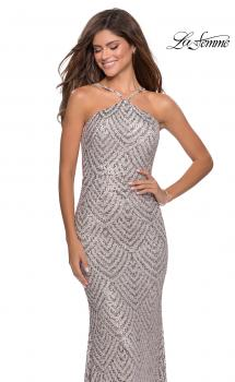 Picture of: Sequin Patterned Gown with Pyramid Neckline in Mauve, Style: 28625, Main Picture