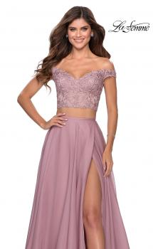 Picture of: Two Piece Dress with Sheer Off the Shoulder Top in Mauve, Style: 28704, Main Picture