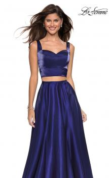 Picture of: Metallic Satin Two Piece Gown with Pockets in Midnight Blue, Style: 27444, Main Picture