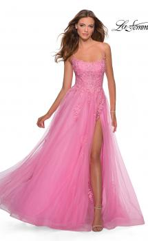 Picture of: A-line Tulle Gown with Floral Embroidery and Pockets in Millennial Pink, Style: 28470, Main Picture