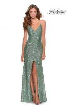 Picture of: Sequin Prom Dress with Center Slit and Tie Up Back in Mint, Style: 28525, Main Picture