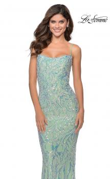 Picture of: Iridescent Floral Prom Dress with Cut out Open Back in Mint, Style: 28918, Main Picture