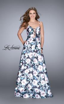 Picture of: Long Flower Print Mikado A-line Prom Dress in Print, Style: 24717, Main Picture