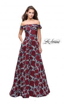 Picture of: Off the Shoulder A-line Gown with Floral Print in Multi, Style: 25790, Main Picture