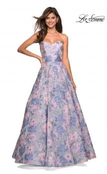 Picture of: Long Empire Waist FLoral Strapless Ball Gown in Multi, Style: 27507, Main Picture