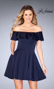 Picture of: A-line Short Satin Dress with Off the Shoulder Detail, Style: 25070, Main Picture
