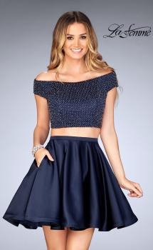 Picture of: Fully Beaded Off the Shoulder Two Piece Dress in Navy, Style: 25120, Main Picture