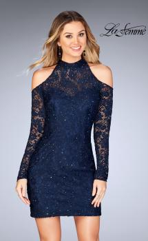 Picture of: Short Lace Dress with Shoulder Cut Outs and Open Back in Navy, Style: 25170, Main Picture