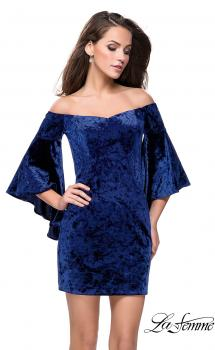 Picture of: Trendy Velvet Dress with Off the Shoulder Bell Sleeves, Style: 26640, Main Picture
