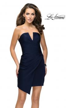 Picture of: Strapless Jersey Short Dress with Asymmetrical Skirt in Navy, Style: 26669, Main Picture